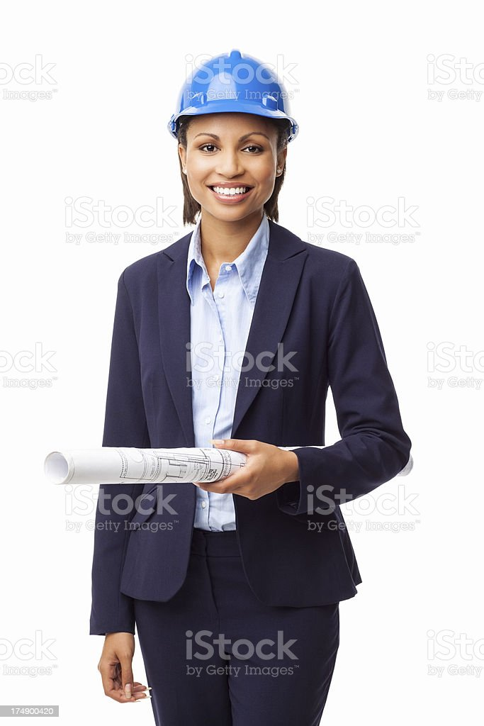 Female Architect Holding Blueprint - Isolated stock photo