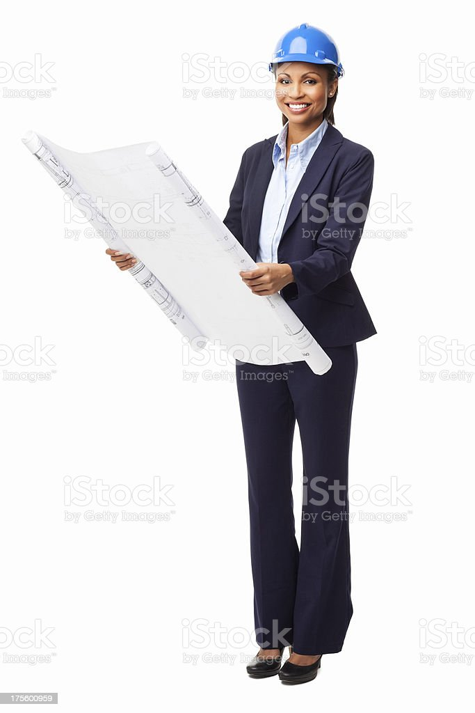 Female Architect Holding Unrolled Blueprint - Isolated stock photo