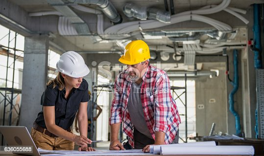 istock Female Architect With Construction Worker 636055688
