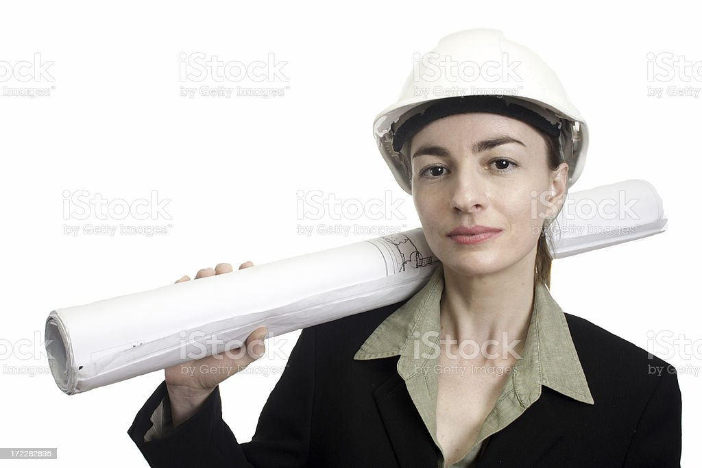 female architect  with plans royalty-free stock photo