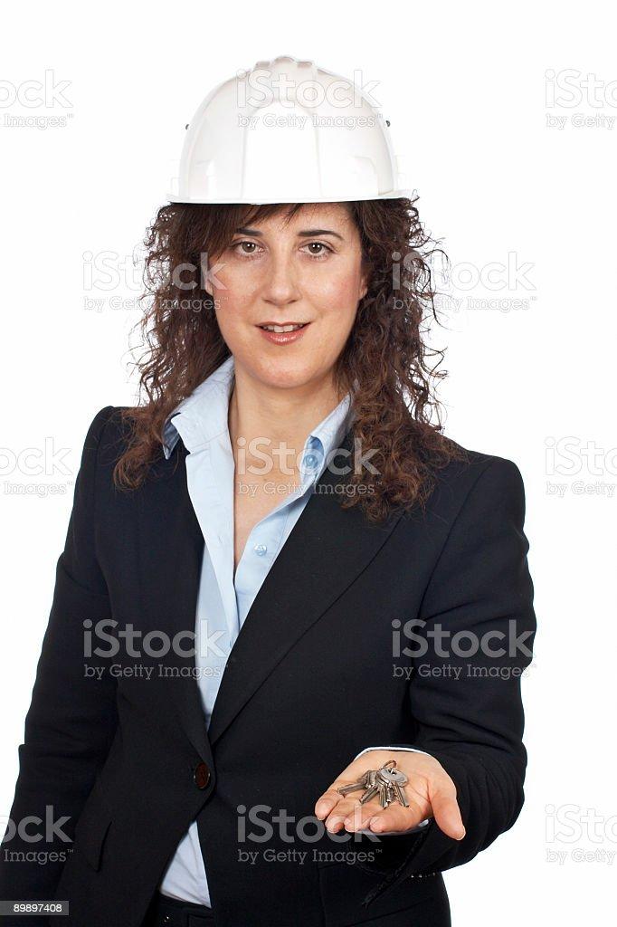 Женский архитектор с ключами Стоковые фото Стоковая фотография