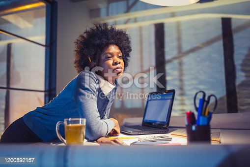 918035432 istock photo Female architect working late 1200892157