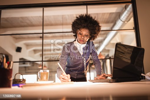 918035432 istock photo Female architect working late 1200892168