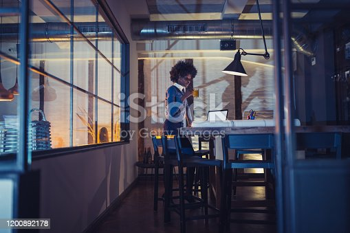 918035432 istock photo Female architect working late 1200892178