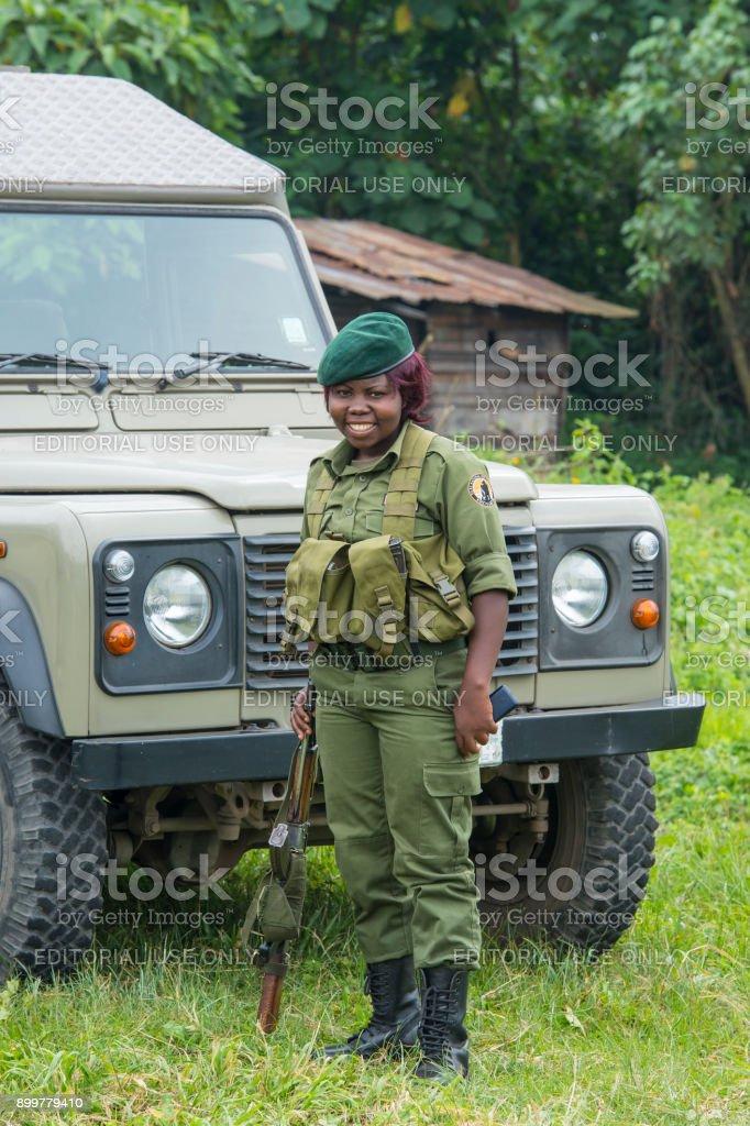 Female armed park ranger, Virunga Nationalpark, Congo stock photo