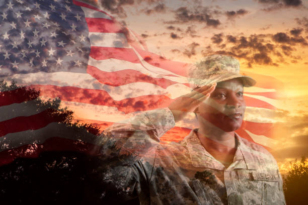 female army soldier overlay sunset, american flag. - saluting stock photos and pictures