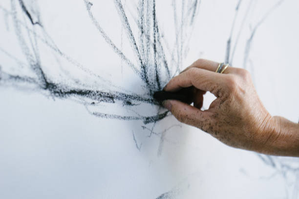 female artist drawing with charcoal - charcoal drawing stock photos and pictures