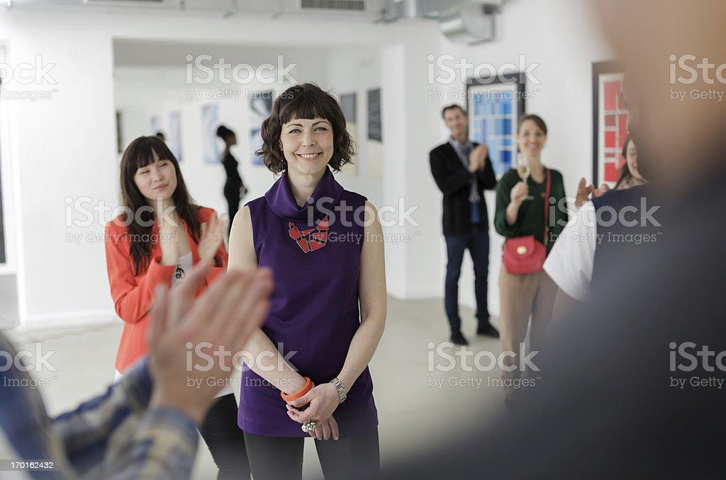 Female Artist in Art Gallery stock photo