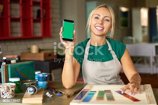istock Female Artist Presenting Mobile App 903413642