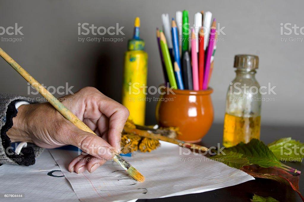 Female Artist With Brush stock photo