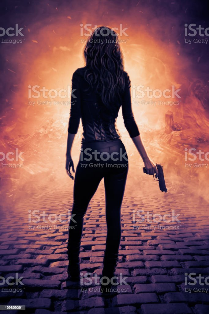 Female assassin digital artwork stock photo