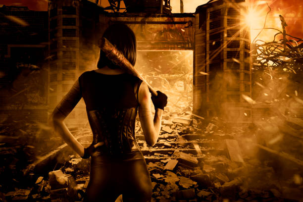 Female assassin in post apocalyptic scene stock photo