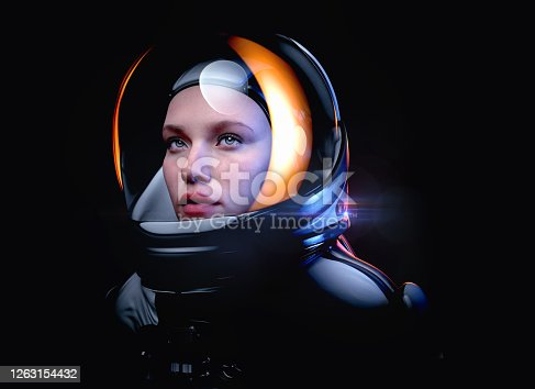 female astronaut with glass helmet and dramatic lighting- 3d rendering
