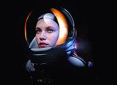 istock female astronaut with glass helmet 1263154432