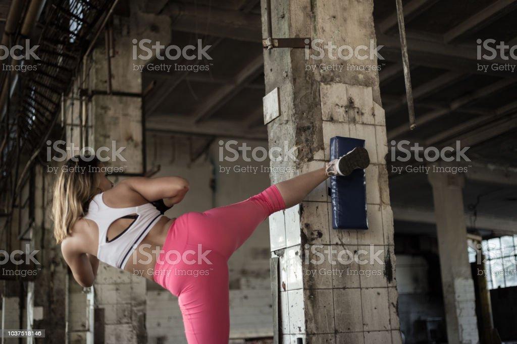 Female athlete boxing stock photo