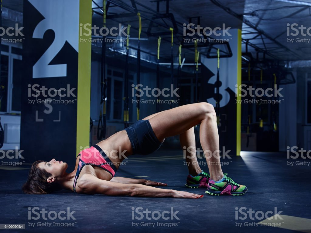 Female athlete in action stock photo