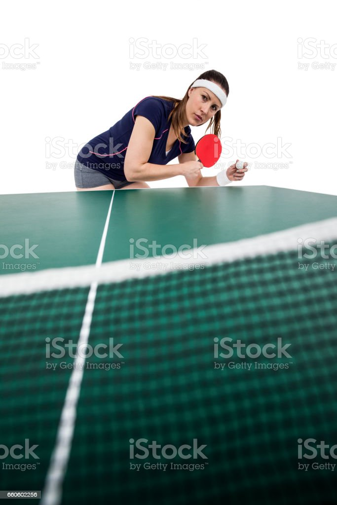 Female athlete playing table tennis royalty-free stock photo