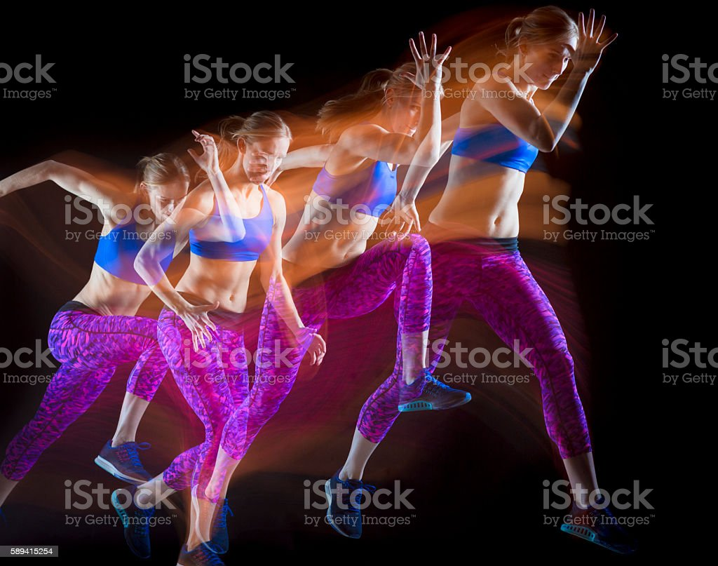 Female Athlete Practicing Start stock photo