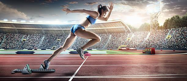 女性アスリート短距離走 - 陸上競技 ストックフォトと画像