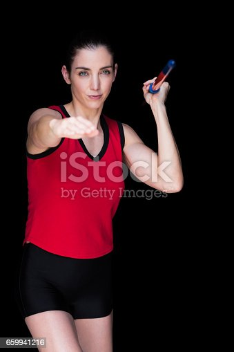 856713554istockphoto Female athlete throwing a javelin 659941216