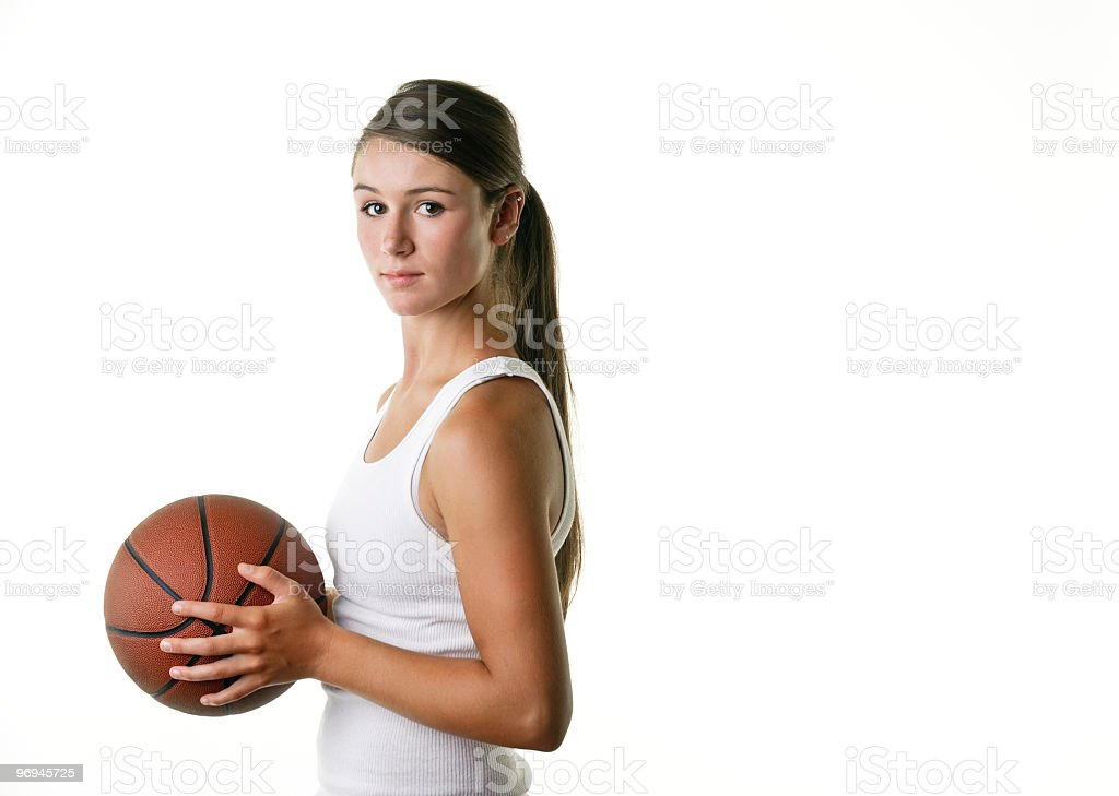 Female Athlete with Basketball royalty-free stock photo