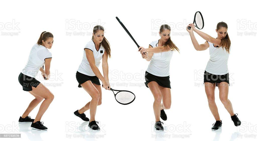 Female athletes playing tennis stock photo
