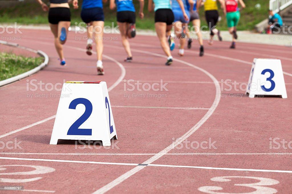 Female athletes racing stock photo