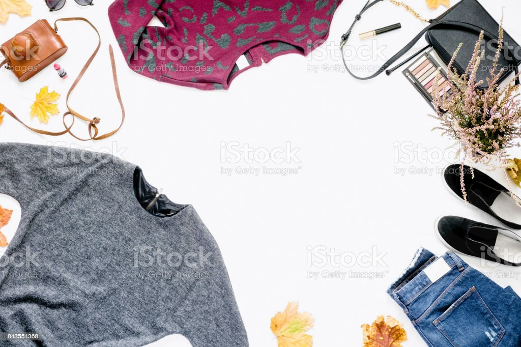 Female Autumn Clothes On White Background Frame Of Dress Jeans ...