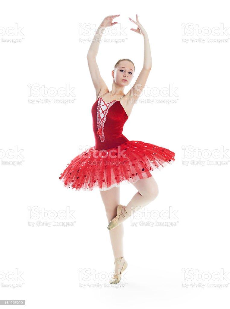 Ballerina in eine rote Spitze Ballettröckchen auf weißem Hintergrund – Foto