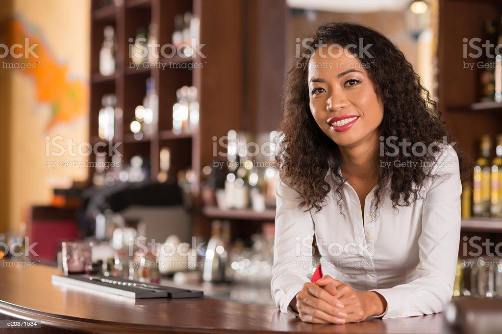 Female bar owner stock photo