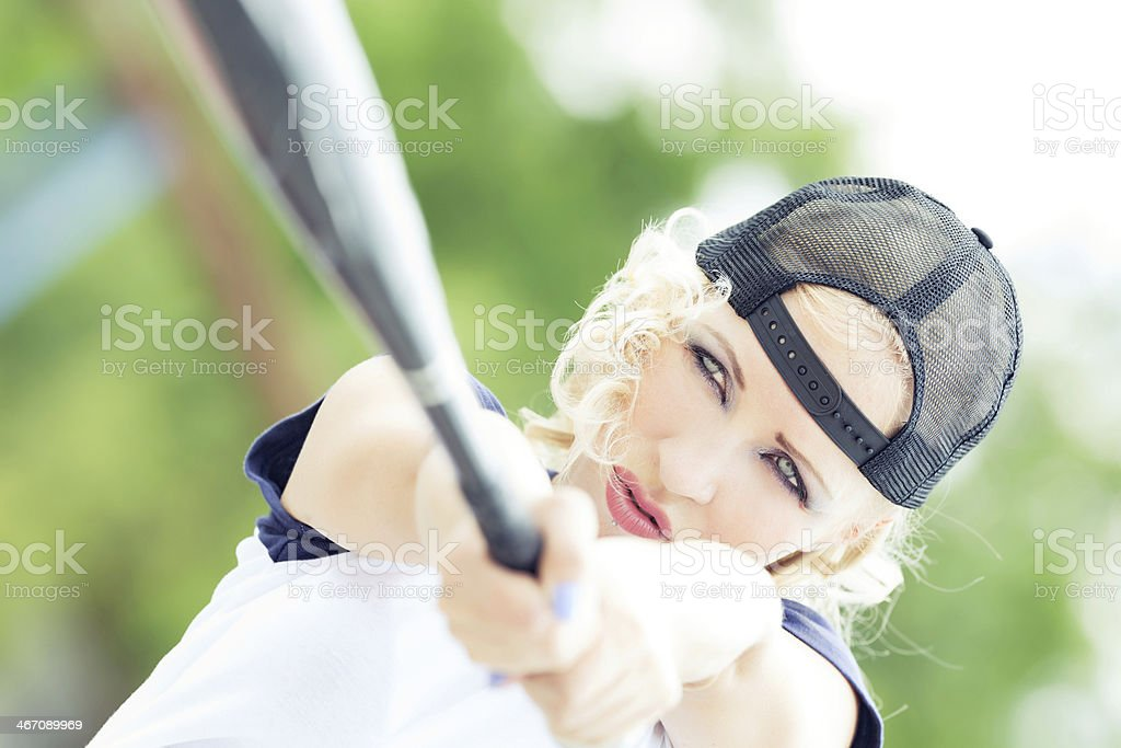 Female baseball player royalty-free stock photo