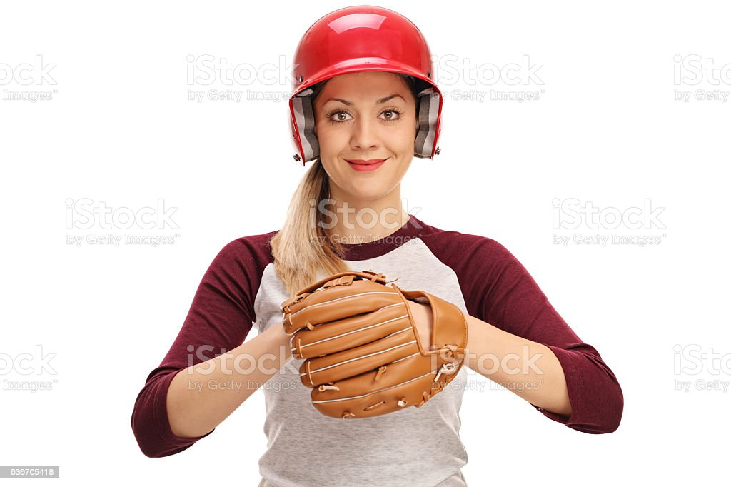 Female baseball player with a glove stock photo