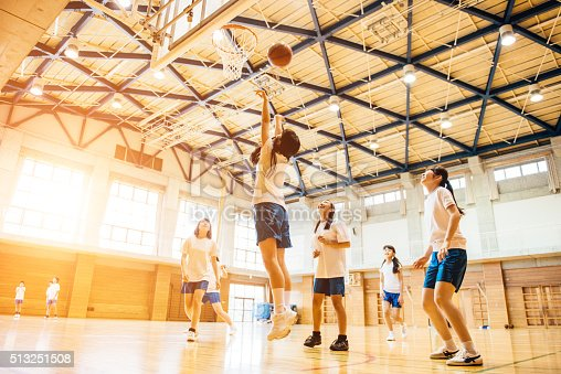 istock Female Basketball Team Playing in Japanese High School 513251508
