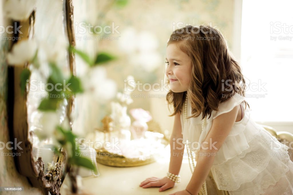 female beauty vintage happiness little girl stock photo