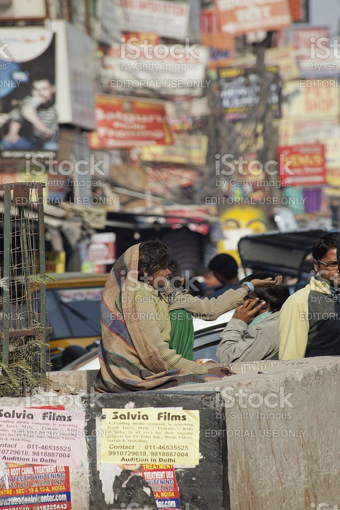 female begger at noida india stock photo