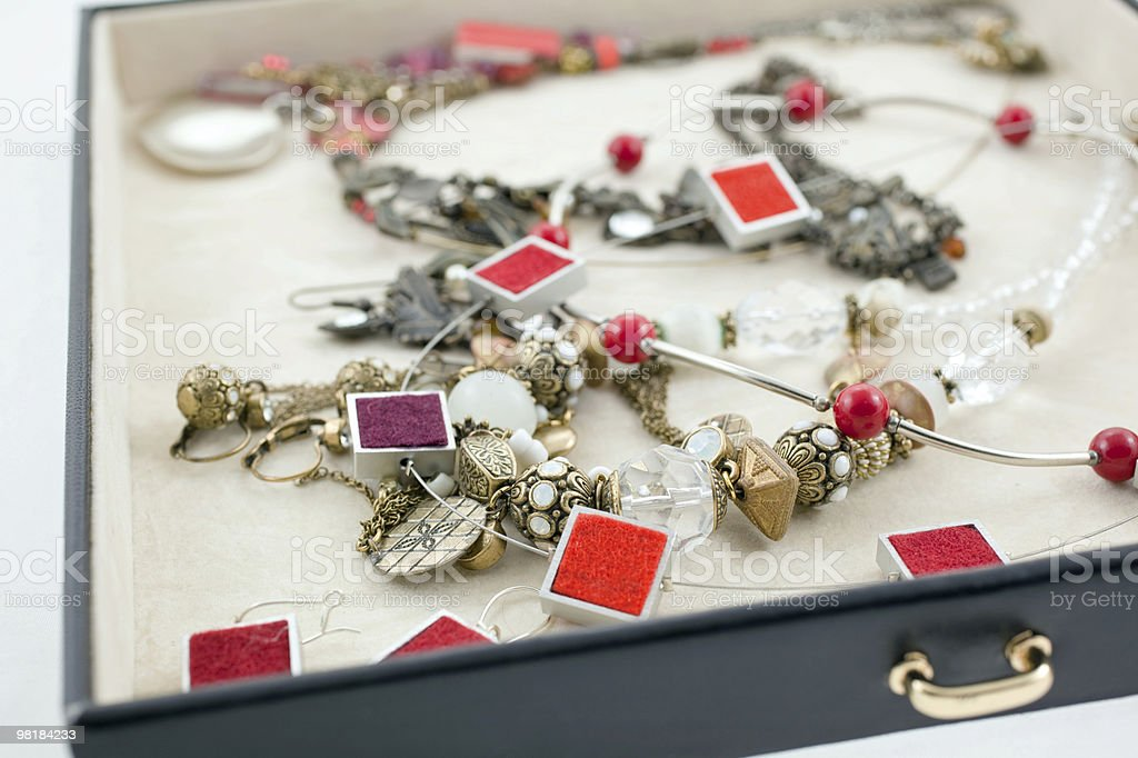 female bijouterie in black jewelry box royalty-free stock photo