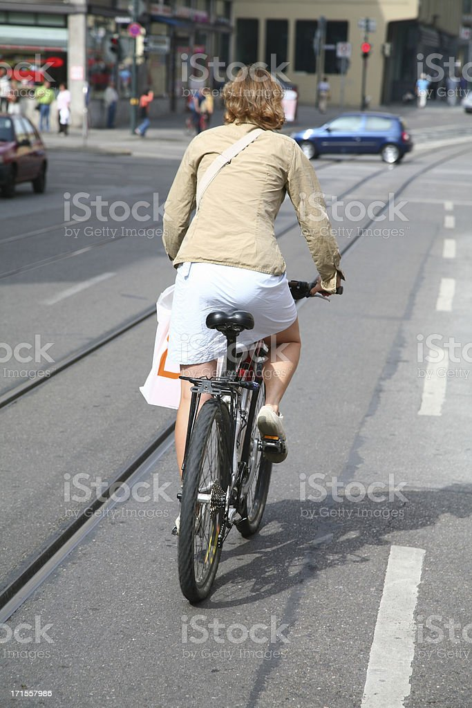 Female biker in the city royalty-free stock photo
