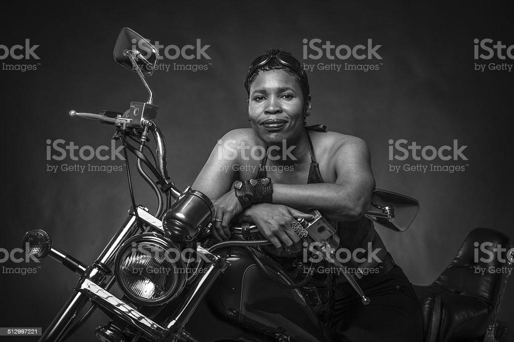 female biker stock photo