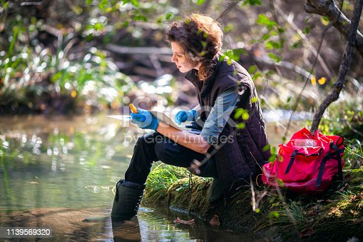 Female Biology Researcher Working in Nature.