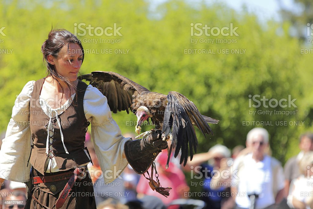 Female bird tamer stock photo