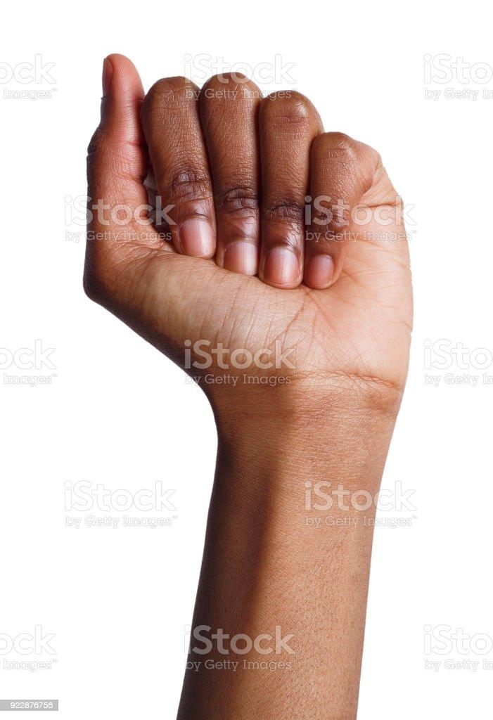 Female black fist isolated on white background stock photo