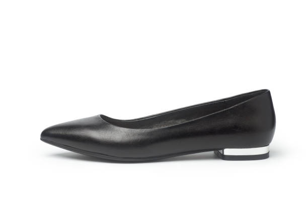 female black flat shoe - flat shoe stock photos and pictures