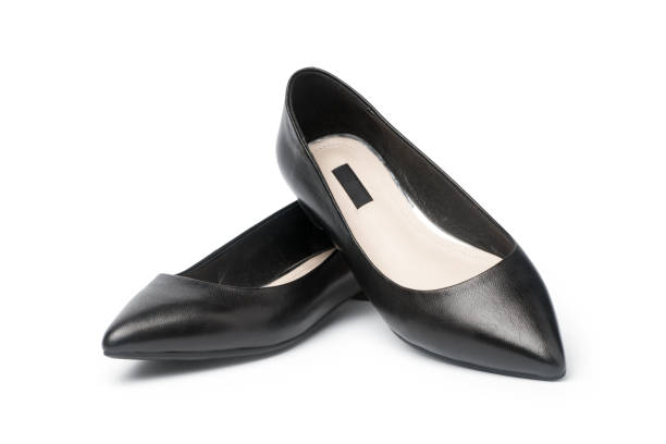 female black flat shoes - flat shoe stock photos and pictures