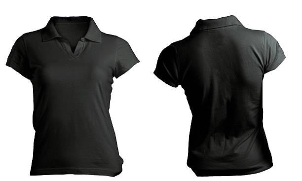 Female black polo shirt template stock photo