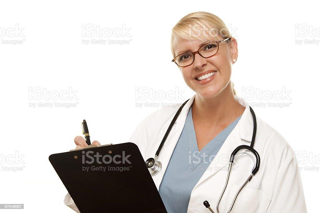 Femme Blonde médecin avec Stéthoscope à repasser et vidéo photo libre de droits