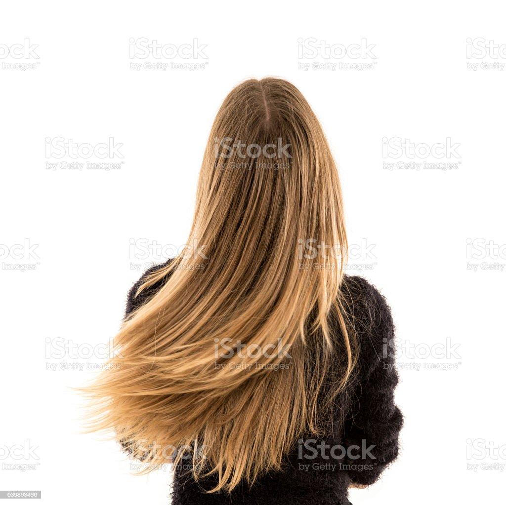 Mulher loira cabelo longo - foto de acervo