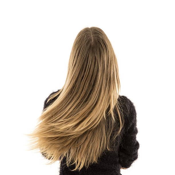 femme blonde cheveux longs - fille dos photos et images de collection