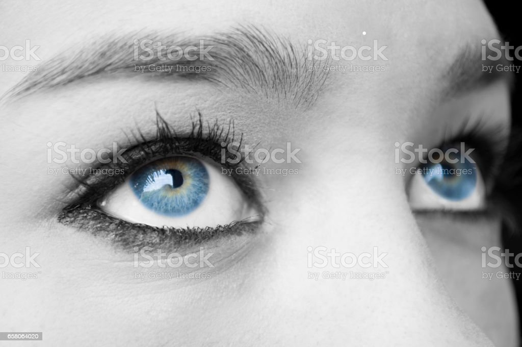 Female blue eyes stock photo