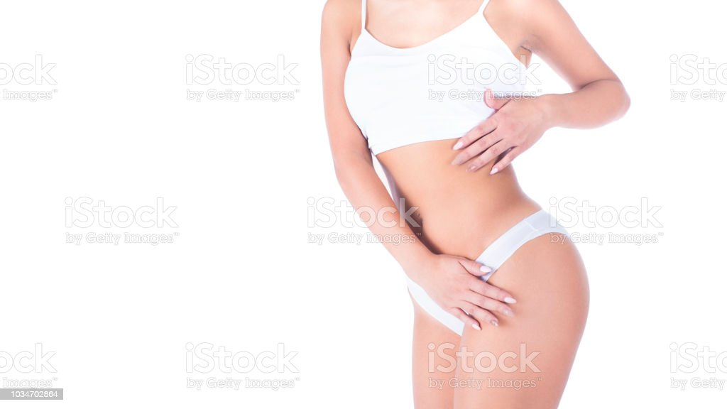 82d320835 Corpo feminino em lingerie branca nele isolado no branco. Perder gordura