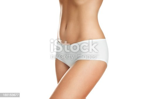 istock Female body wearing white underwear on white background 155153677